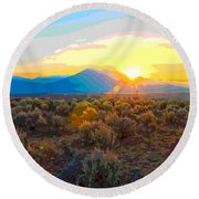 Magic Over Taos Round Beach Towel