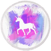 Magic Unicorn 1- Art By Linda Woods Round Beach Towel