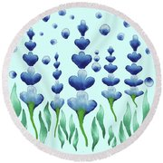 Magic Watercolor Flower Garden In Baby Blue Round Beach Towel