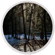 Round Beach Towel featuring the photograph Magic Winter Light - 365-289 by Inge Riis McDonald