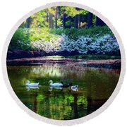 Magical Beauty At The Azalea Pond Round Beach Towel by Tamyra Ayles