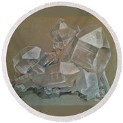 Round Beach Towel featuring the photograph Magical Beauty Of Quartz Crystal by Miriam Danar