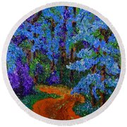 Magical Blue Forest Round Beach Towel