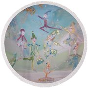 Round Beach Towel featuring the painting Magical Elf Dance by Judith Desrosiers