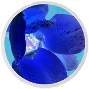 Magical Flower I - Blue Velvet Round Beach Towel