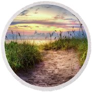 Round Beach Towel featuring the photograph Magical Light In The Dunes by Debra and Dave Vanderlaan