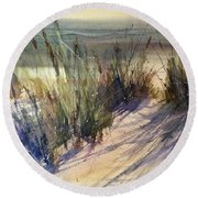 Round Beach Towel featuring the painting Magical Michigan by Sandra Strohschein