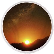 Magical Milkyway Above The African Mountains Round Beach Towel
