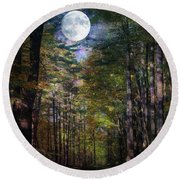 Magical Moonlit Forest Round Beach Towel by Judy Palkimas