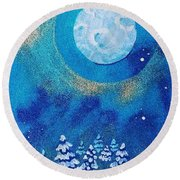 Magical Night At The Cabin Round Beach Towel