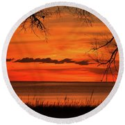 Magical Orange Sunset Sky Round Beach Towel