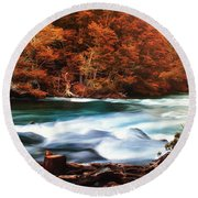 Autumnal Landscape With Lake In The Argentine Patagonia Round Beach Towel