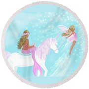 Round Beach Towel featuring the painting Magical Play Day by Leslie Allen