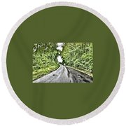Magical Road Home Round Beach Towel