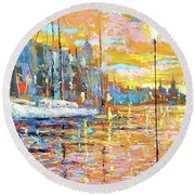 Magical Sunset Round Beach Towel