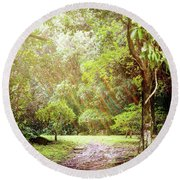 Round Beach Towel featuring the photograph Magical Tulgey Wood by Cindy Garber Iverson