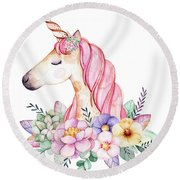 Magical Watercolor Unicorn Round Beach Towel