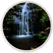 Magical Waterfall Above Spruce Falls In Tremont Smoky Mountains Tennessee  Round Beach Towel