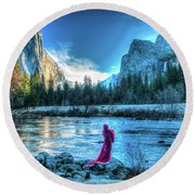 Magical Winter In Yosemite Round Beach Towel