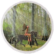 Round Beach Towel featuring the mixed media Magical Woods by Rosalie Scanlon