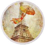 Round Beach Towel featuring the digital art Magically Paris by Christina Lihani