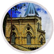 Round Beach Towel featuring the photograph Magnificent Church Of Biblian by Al Bourassa