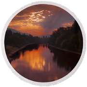 Magnificent Clouds Over Rogue River Oregon At Sunset  Round Beach Towel