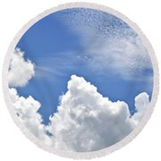 Round Beach Towel featuring the photograph Magnificent Clouds by Tara Potts