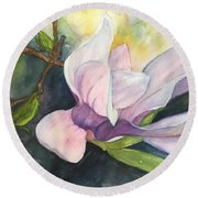 Round Beach Towel featuring the painting Magnificent Magnolia by Lucia Grilletto