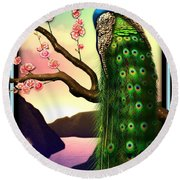Magnificent Peacock On Plum Tree In Blossom Round Beach Towel