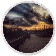 Round Beach Towel featuring the photograph Magnificent Sunset - On The Boardwalk by Miriam Danar