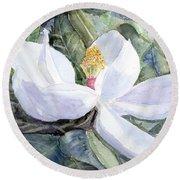 Magnolia Blossom Round Beach Towel by Barry Jones