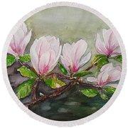 Magnolia Blossom - Painting Round Beach Towel