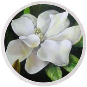 Magnolia Oil Painting Round Beach Towel