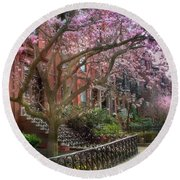 Round Beach Towel featuring the photograph Magnolia Trees In Spring - Back Bay Boston by Joann Vitali