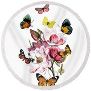 Magnolia With Butterflies Round Beach Towel