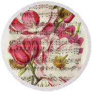 Magnolias And Music Sheet Round Beach Towel