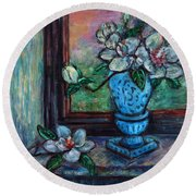 Round Beach Towel featuring the painting Magnolias In A Blue Vase By The Window by Xueling Zou