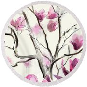 Magnolias In Bloom Round Beach Towel