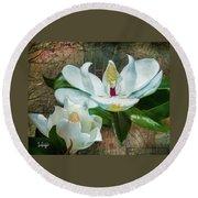 Magnolias Round Beach Towel