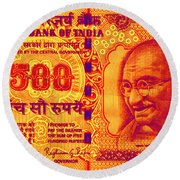 Round Beach Towel featuring the digital art Mahatma Gandhi 500 Rupees Banknote by Jean luc Comperat