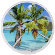 Round Beach Towel featuring the photograph Maho Bay Palms by Adam Romanowicz