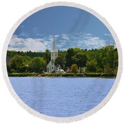 3 Churches In A Row ,  Mahone Bay Nova Scotia Round Beach Towel