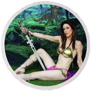 Maiden Of The Mystic Wood Round Beach Towel