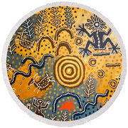 Maidu Creation Story Round Beach Towel