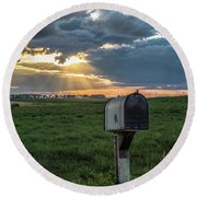 Mail Box In North Dakota  Round Beach Towel by John McGraw