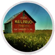 Round Beach Towel featuring the painting Mail Pouch Barn P D P by David Dehner