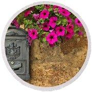 Mailbox With Petunias Round Beach Towel