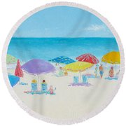 Main Beach East Hampton  Round Beach Towel