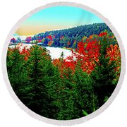 Round Beach Towel featuring the photograph Maine Long Pond Acadia  by Tom Jelen